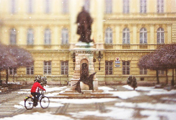 Klapka square with biker || Nikon F-801s | Homemade Tilt-shift lens | Fuji X-Tra 400