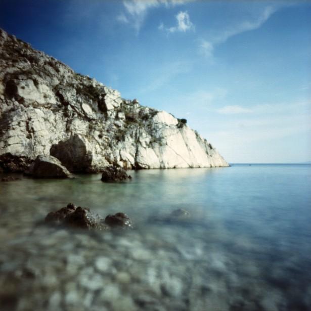 Rocks & water (pinhole) || Pinholga | Kodak Ektar 100